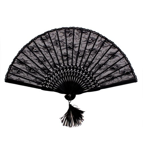 NSSTAR High Quality Lady's Girl's Vintage Retro Flower Lace Handheld Folding Hand Fan (Black)