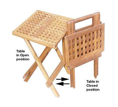 Square Teak Cabinet (Garden of Eve Collection Teak Square Picnic Table (shown in open & close position))