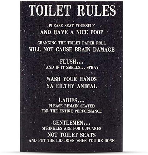 Plaque Poop Rules Rude Sarcastic Batroom Rules Wc Toilet Rules Wooden Sign