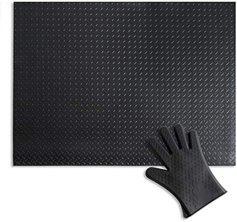 Uperla Premium Black Matte 36 X 48 Inches Under Grill Mat Upgraded Thickness Comes With Heat Resistant Silicone Glove Protects Decks Patios