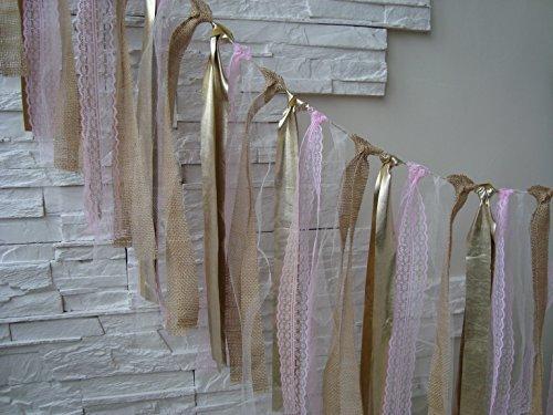 5 ft Rustic glitter gold, pale pink garland, burlap garland, rag bunting, home decor, Wedding prop , fabric banner, shabby shic garland -