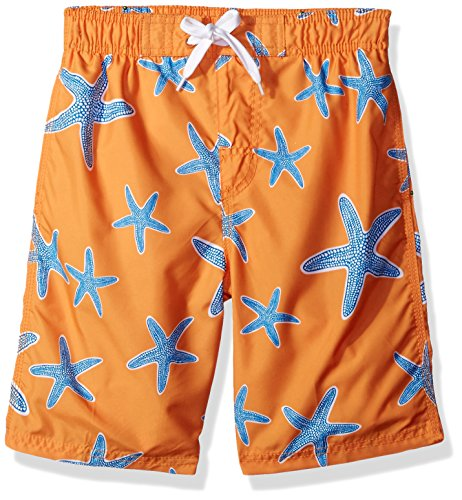 Kanu Surf Little Boys' Starfish Sea Life Quick Dry Beach Board Shorts Swim Trunk, Orange, Medium - Sizes Team Swim Suit Bathing