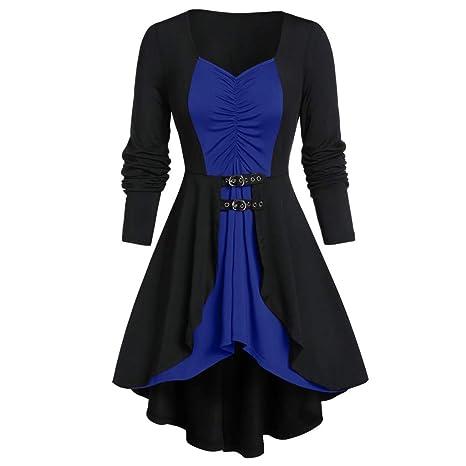 Benbzh Vestido De Mujer con Botones De Cuero Plisado De ...