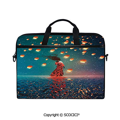 Portable Ultrabook Soft Sleeve Laptop Bag Case Cover Sorcerer Woman with Red Dress Standing on Water with Lanterns on Air Compatible with HP Dell Lenovo ()