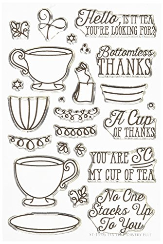 """Avery Elle Tea Time Stamp Set, 4 by 6"""", Clear"""