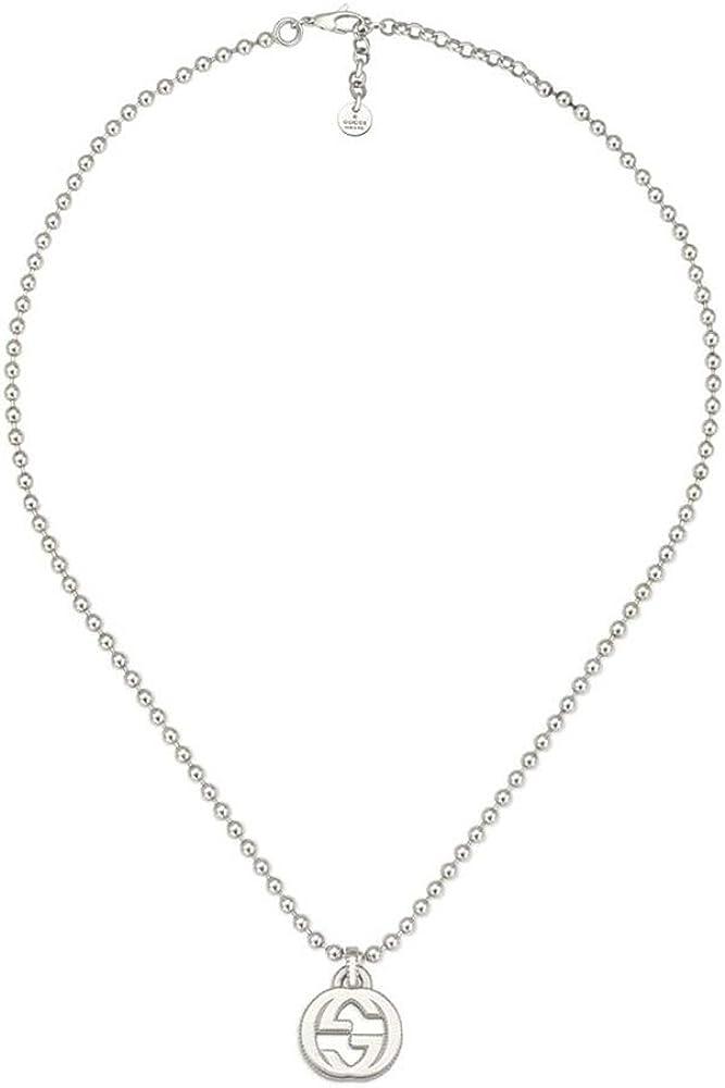 Gucci INTERLOCKING G plata collar 45cm ybb47921900100u