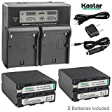Kastar LCD Dual Fast Charger & NP-F990 Battery X2 7.2V 11600mAh for Sony NP-F975 NP-F970 NP-F960 NP-F950 NP-F930 NP-F770 NP-F750 NP-F730 NP-F570 NP-F550 NP-F530 NP-F330, Sony Camcorder and LED Light