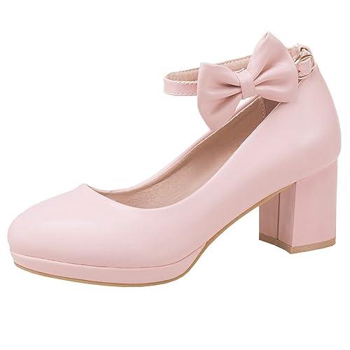 Artfaerie Damen Ankle Strap High Heels Mary Jane Blockabsatz