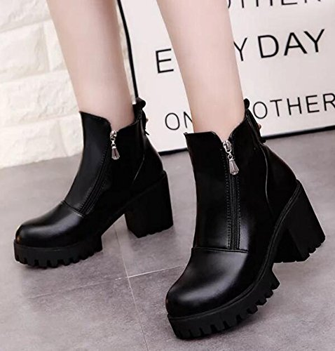 Idifu Mujeres Trendy High Chunky Heels Plataforma Lateral Cremallera Botines Negro