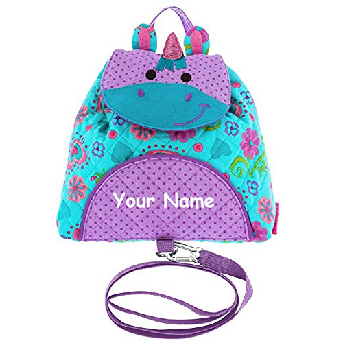 (Stephen Joseph Personalized Unicorn Little Buddy Backpack Bag with Safety Harness Strap)