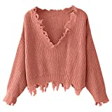 DEZZAL Women's Loose Long Sleeve V-Neck Ripped Pullover Knit Sweater Crop Top (Orange Pink)