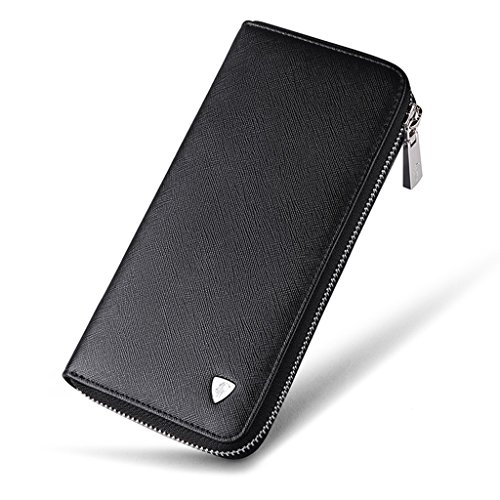 William POLO Men's Genuine Leather Zip Around Long Clutch Purse Mens Zipper Business Billfold Wallet ID Credit Card Holder Money Clip POLO119 Black