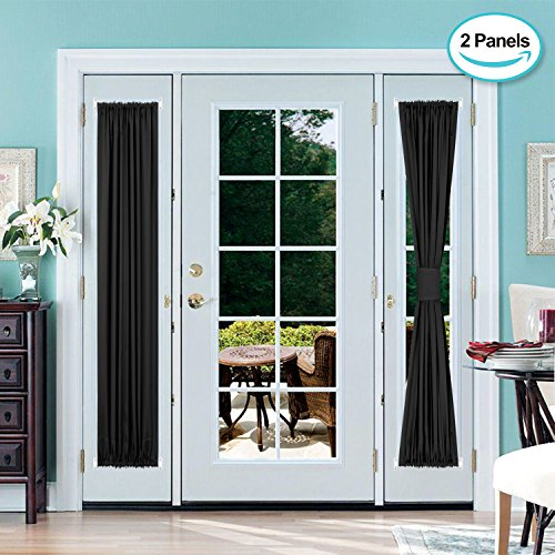french door panel curtains black - 2