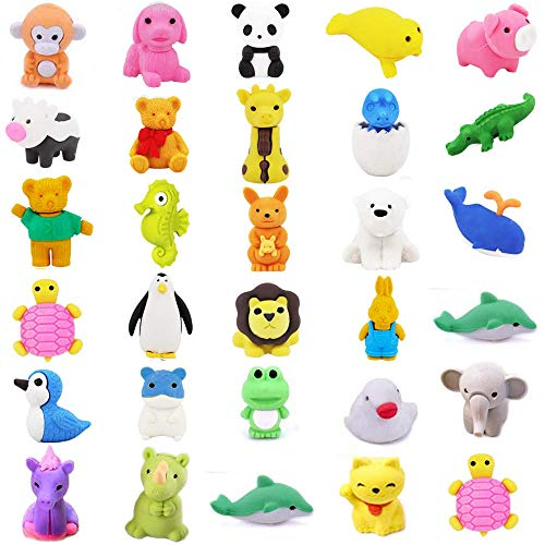 TOOPAIR 30 PCS Super Cute Animal Pencil Erasers | 30 Prime Adorable Erasers Bulk | Corlorful Eraser Set for Game Prizes, Party Favors, Classroom Rewards, Carnivals Gift and School Supplies (Penguins Erasers)