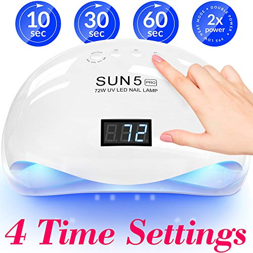 Professional Nail Dryer 72W - Sun 5 Pro Best UV LED Nail Lamp for Fingernail & Toenail Gel Based Polishes – Portable Nail Curing Light with 36pcs LEDs, 4 Timer Settings & Smart Sensor (White)
