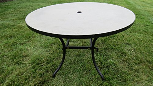 Stone Mosaic Tops - Pebble Lane Living All Weather Rust Proof Indoor/Outdoor Exclusive Round Natural Stone Mosaic Concrete Top Patio Dining Table with Umbrella Hole, Black Frame, 39.5