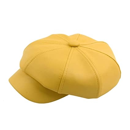 Image Unavailable. Image not available for. Color  SUKEQ Leather Newsboy Hat 6a42cd0e4c75