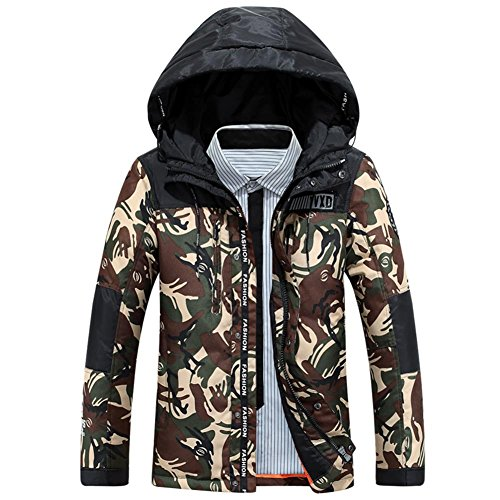 Puffa Camouflage Jacket Hooded Winter Jackets Sunshey Green Down Men's Army wYR50qU