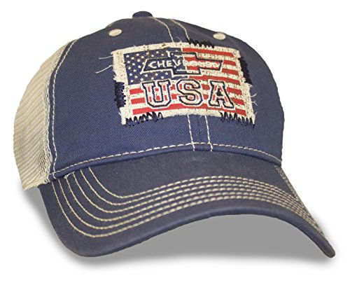 Navy Hat Mesh American Flag Chevy USA - Chevy Cap Baseball