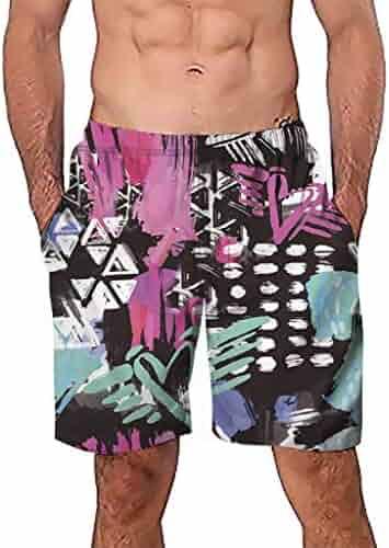 43459acae1b33 Aolity Swimwear Trunks Men Casual 3D Graffiti Printed Beach Work Casual Short  Trouser Shorts Pants Swimsuit