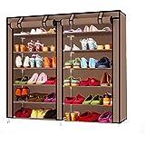 خزانة أحذية بدرفتين متعددة الطبقات, رفوف تخزين الاحذية بني