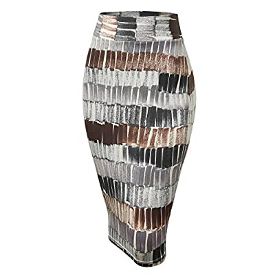 Made By Johnny Women's Elastic Waist Stretch Bodycon Midi Knee Length Pencil Skirt for Office- Made in USA at Women's Clothing store