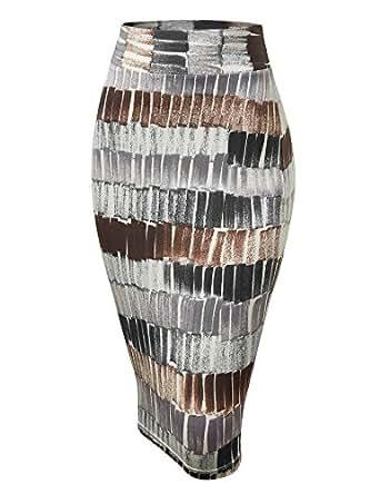 MBJ WB1304 Womens Print Midi Pencil Skirt S BLACK_BROWN