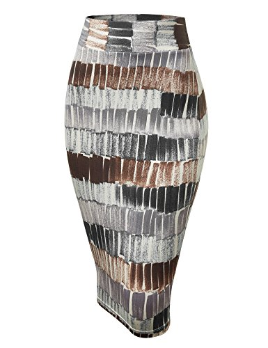 WB1304 Womens Print Midi Pencil Skirt M Black_Brown ()