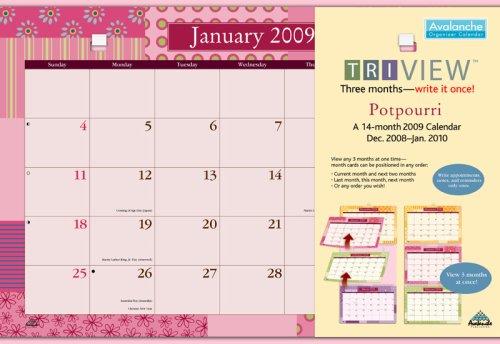 Potpourri Tri-View 14-month 2009 Calendar: Dec. 2008-jan. 2010