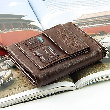 Monederos vintage artesanal cera short bi-hombre de cartera de cuero cuero carteras para hombres,vertical marrón: Amazon.es: Deportes y aire libre