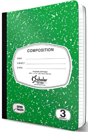 iScholar 3-Subject Colored Marble Composition Book, 120 Sheets, Wide Ruled, 9.75 x 7.5-Inches, Cover Color May Vary (18113) Photo #3