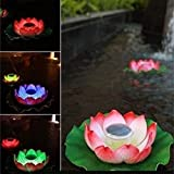 ECBUY Waterproof Solar Floating LED Lotus Light, Color-changing Flower Night Lamp /Pond /Garden/house Lights for Pool /Party Fancy Ideal Novel Creative Gift for Christmas (Multi color, 1 Piece)