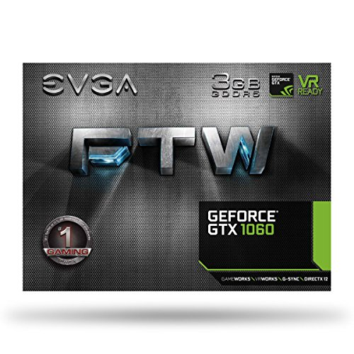 EVGA GeForce GTX 1060 3GB FTW GAMING ACX 3.0, 3GB GDDR5, LED, DX12 OSD Support Graphic Cards 03G-P4-6168-KR