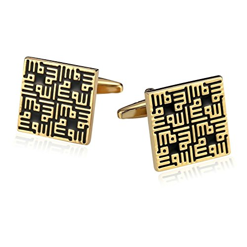 - Epinki Mens Stainless Steel Enamel Sqaure Gold Black Cufflinks for Bussiness Wedding-with Gift Box