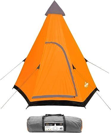Milestone Teepee Camping 18920-Tienda de campaña para 2 Personas, Color Naranja, Gris, Unisex Adulto, Talla única