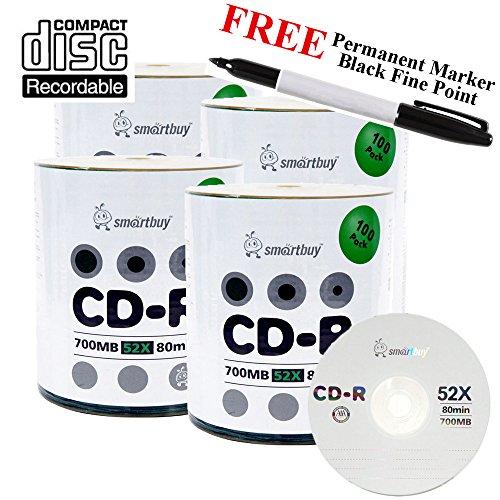 Smartbuy 400-disc 700mb/80min 52x CD-R Logo Top Blank Media Record Disc + Black Permanent Marker by Smartbuy