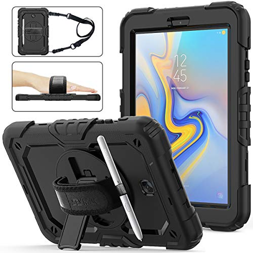 Galaxy Tab A 8.0 T387 Case [ONLY T387 ], Three Layer Hybrid Drop Protection Case with [360 Rotating Stand] Hand Strap &[Screen protector] for Samsung Galaxy Tab A 8.0 Model SM-T387 (2018) - Black (Tablet Case Galaxy 8in)