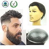 PU Skin Toupee for Men, N.L.W. European Human Hair Pieces for Men with 10'' x 8'' PU Thin 0.04cm Skin, 4 Light Brown