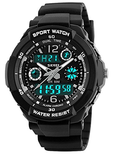 Sports Watch, Multi Function Watch 50 Meters Waterproof Led Kids Watch Outdoor Sports Watches with Dual Time Wrist Watches for Boy Girl Gifts (Silver Case) ()