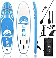 LBW Inflatable Stand Up Paddle Board with Premium SUP Accessories & Large Backpack,Non-Slip Deck,Removable