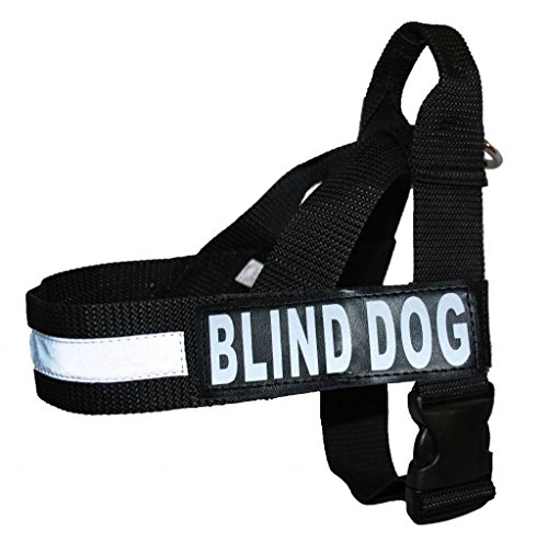 BLIND DOG Nylon Strap Service Dog Harness No Pull Guide Assistance comes with 2 reflective BLIND DOG removable patches. Please measure your dog before ordering. ()