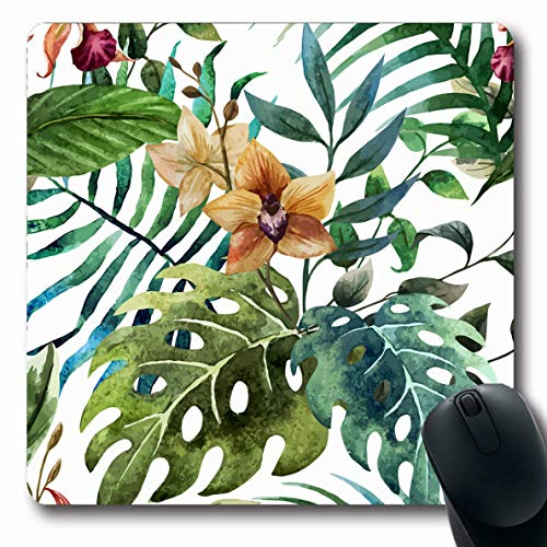 Ahawoso Mousepad for Computer Notebook Blossom Watercolor Flower Orchid Tropical Nature Pattern Vintage Floral Vine Flora Design Palm Oblong Shape 7.9 x 9.5 Inches Non-Slip Gaming Mouse Pad
