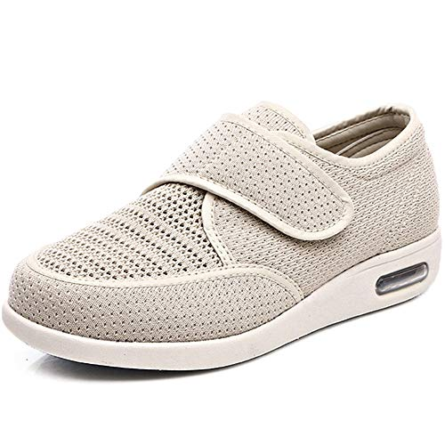 Orthoshoes Women's Diabetic Elderly Shoes Mesh Breathable Walking Sneakers Lightweight Adjustable Easy On and Off Strap Summer Slippers for Swollen Feet, Edema, Foot Pain, Bunions