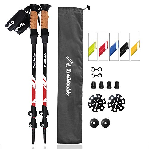 TrailBuddy Walking Poles - 2-pc Pack Collapsible Trekking or Hiking Sticks - Strong, Lightweight Aluminum 7075 - Quick Adjust Flip-lock - Cork Grip, Padded Strap - Free Bag, Accessories (Beetle Red) (Trekking Walking Stick Hiking)