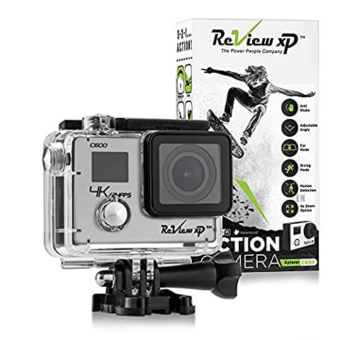 Review XP C600 4K Action Camera – Waterproof - Sony 16MP Sensor - Wi-Fi - 170° Angle - 4x Zoom Lens - Dual Screen - Ultra HD Sports DV Digital Camcorder – Bundle of 20+ Mounting Kits & (Waterproof Camera With Zoom)