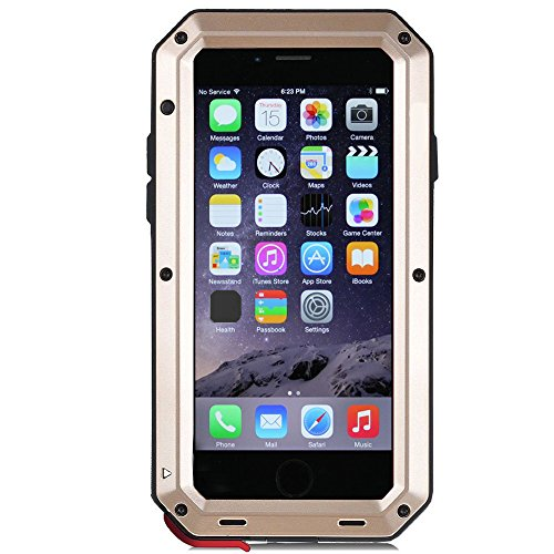 iPhone 6 Plus Case,iPhone 6s Plus Case Amever Aluminum Metal Case with Silicone - Water Resistant Shockproof Heavy Duty Tempered Glass Screen Protector - Dual Layer Case for iPhone 6 Plus 5.5 Inch