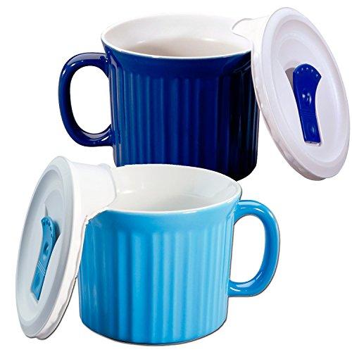 Corningware 20-oz Pop-ins Mug Set Includes 2 Mugs with Vented Plastic Lids (Pool Blue & Blueberry)