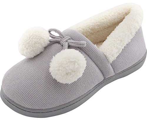 HomeTop Women's Cozy Cute Fuzzy Knit Cotton Memory Foam House Shoes Slippers w/Pom Pom Decor Indoor Outdoor