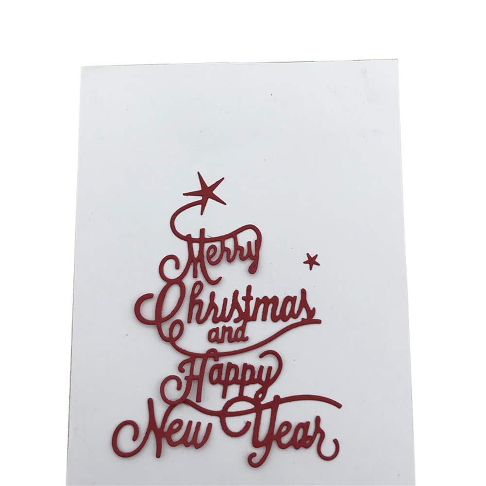 Weihnachten Frohes Neues Jahr Brief Scrapbooking Schablonen DIY Karten Album Dekor Silver Lai-LYQ Metall Stanzformen Pr/ägeschablonen