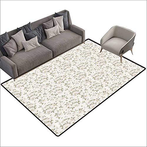 Bathroom Carpet Ivory,Flourished Rose Flower Blossoms and Petals Motif Essence Nature Classic Design,Coconut Beige 48